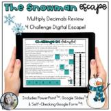 Multiplying Decimals Snowman Escape the Classroom