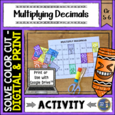 Multiplying Decimals Solve, Color, Cut