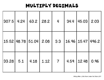 Multiplying Decimals Solve, Color, Cut
