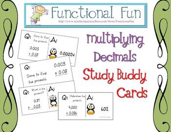 Multiplying Decimals Study Buddy Cards