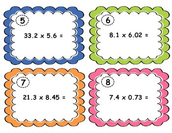 Multiplying Decimals Task Cards - 5.NBT.7