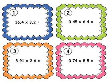Multiplying Decimals Task Cards - 5.NBT.7