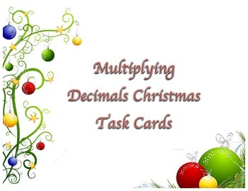 Multiplying Decimals Task Cards Christmas Theme