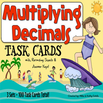 Multiplying Decimals Task Cards {Multiple Choice, Standard Form and Word Form}