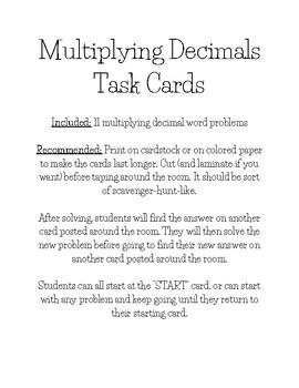 Multiplying Decimals Task Cards/Scoot/Scavenger Hunt