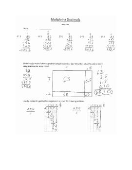 Multiplying Decimals Test