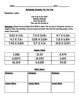 Multiplying Decimals Tic Tac Toe