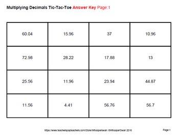 Multiplying Decimals Tic-Tac-Toe