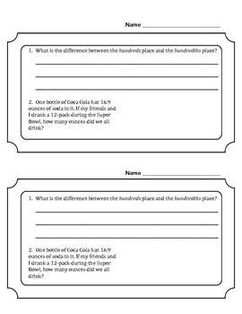 Multiplying Decimals, Ticket-Out-The-Door, Grade 5