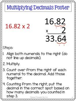 Multiplying Decimals Unit-Pretests, Post-tests, Poster, Cheat Sheets, Worksheets