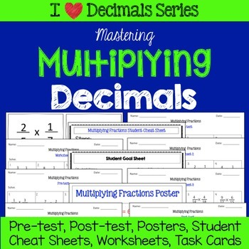 Multiplying Decimals Unit-Pretests, Post-tests, Poster, Ch