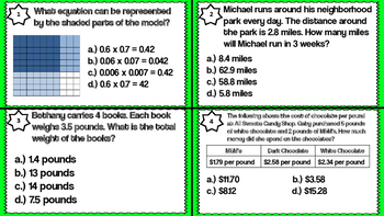 Multiplying Decimals Using Strategies and Models Task Cards