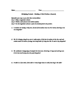 Multiplying Decimals Word Problem Classwork and Homework