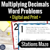 Multiplying Decimals Word Problems Stations Maze  6.NS.3