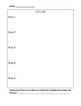 Multiplying Decimals: Writing to Explain Activity