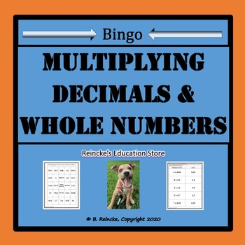 Multiplying Decimals and Whole Numbers Bingo (30 pre-made cards!!!)