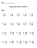 Multiplying Decimals and Whole Numbers II Worksheet