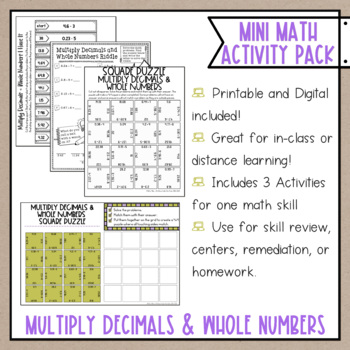 Multiplying Decimals & Whole Numbers Math Activities Google Slides and Printable