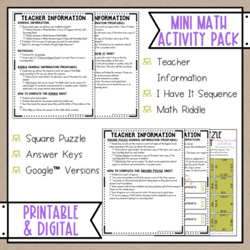 Multiplying Decimals & Whole Numbers Math Activities Puzzles and Riddle