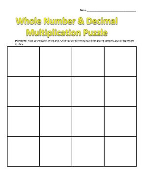 Multiplying Decimals and Whole Numbers Puzzle