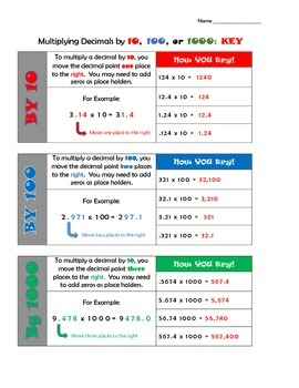 Multiplying Decimals by 10, 100, and 1000   (5.NBT.A.2)