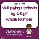 Multiplication Decimal By Whole Number Worksheets (2 Digits)