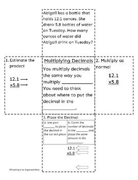 Multiplying Decimals by Decimals-Interactive Math Notebook Page