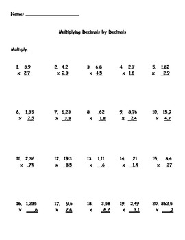 Multiplying Decimals by Decimals Worksheet by Kris Milliken | TpT