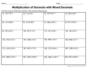 Multiplying Decimals by Mixed Decimals