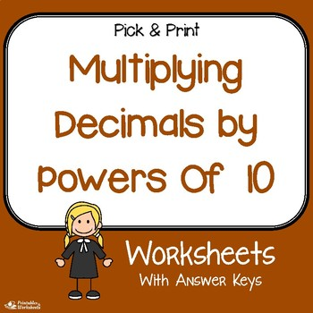 powers of  multiplying decimals worksheets for review practice