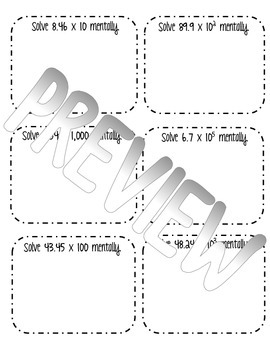 Multiplying Decimals by Powers of Ten Interactive Notes