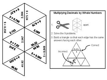 Multiplying Decimals by Whole Numbers Game: Math Tarsia Puzzle