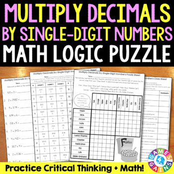 Multiplying Decimals by Whole Numbers Logic Puzzle {5.NBT.7}