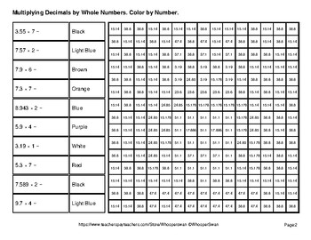 Multiplying Decimals by Whole Numbers - Math Mystery Pictures - Indians