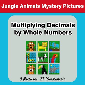 Multiplying Decimals by Whole Numbers - Math Mystery Pictures - Jungle Animals