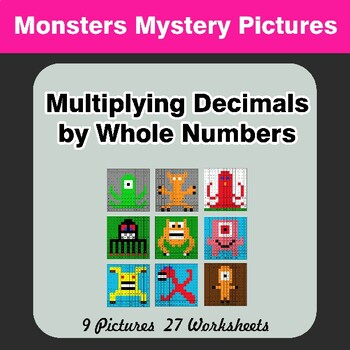 Multiplying Decimals by Whole Numbers - Math Mystery Pictures - Monsters