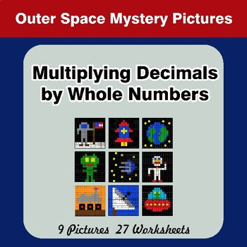 Multiplying Decimals by Whole Numbers - Math Mystery Pictures - Outer Space