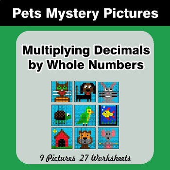 Multiplying Decimals by Whole Numbers - Math Mystery Pictures - Pets
