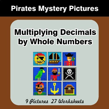 Multiplying Decimals by Whole Numbers - Math Mystery Pictures - Pirates