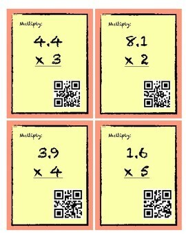 Multiplying Decimals by Whole Numbers QR Code Activity