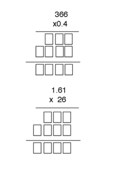 Multiplying Decimals by Whole Numbers - Quick check/Exit Slip