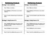 Multiplying Decimals notes sheet