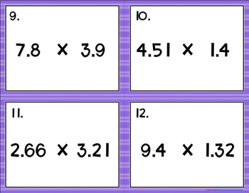Multiplying Decimals {to the Tenths & Hundredths} Task Cards