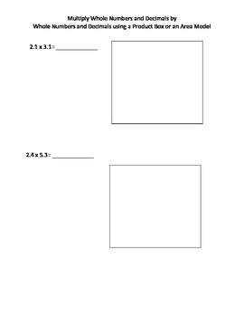 Multiplying Decimals using Area Models