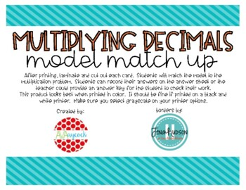 Multiplying Decimals with Models Match Up Game 5.NBT.7