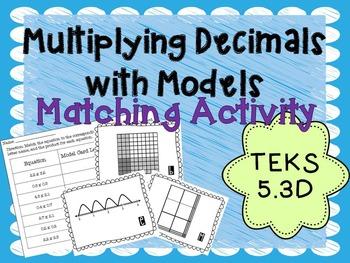 Multiplying Decimals with Models TEKS 5.3D Task Card Activity