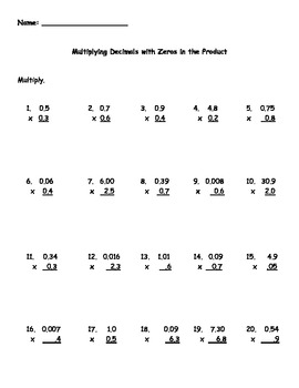 multiplying decimals with zeroes in the product worksheet by kris  multiplying decimals with zeroes in the product worksheet by kris milliken