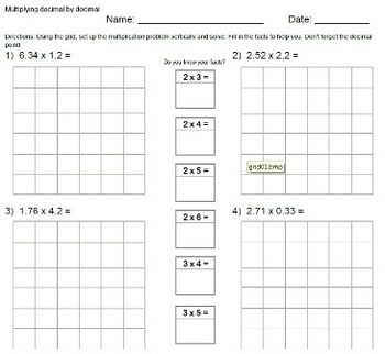 Multiplying Decimals with grids