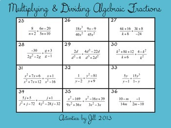 Multiplying & Dividing Algebraic Fractions (Rational Expressions) Activity Cards