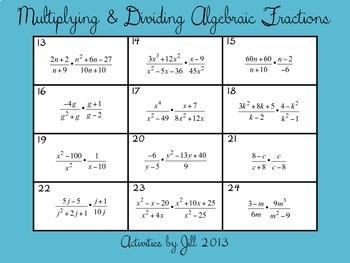 Multiplying Amp Dividing Algebraic Fractions Rational